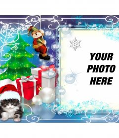 Christmas photo frame with several gifts and a kitten