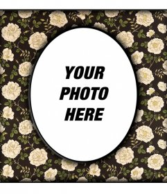 Vintage Oval Photo Frame with flowers on beige in black wall where you can upload a digital photo