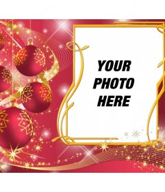 Red frame to put your picture with Christmas balls