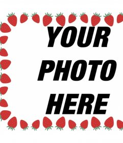 Photo frame with strawberries to decorate your images and free