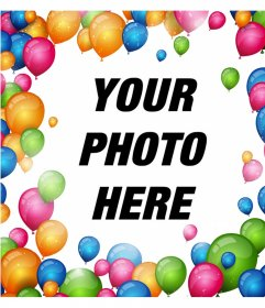 Frame to surround your photos with many colorful balloons and decorate it