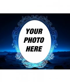 Gothic frame trimmed on night background with blue gradients