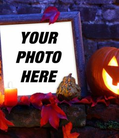 Halloween picture frame with a pumpkin for your photo