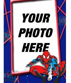 Children frame with red and blue Spiderman in a spiderweb