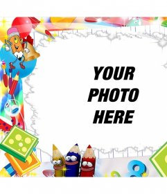 Children editable frame with cute drawings to add a photo