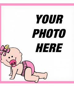 Decorative pink frame with a baby where you can add your photo