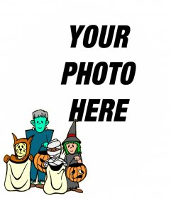 Frame for children with characters with halloween costumes