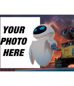 Children frame with a Wall-e and Eve drawing looking at the horizon