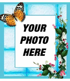 Photo frame for your photos with flowers and butterfly on a blue background