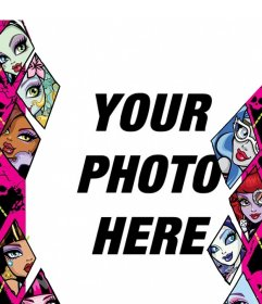 Children photo frame with Monster High tv series characters