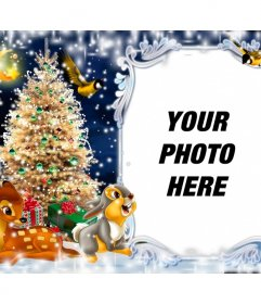 Christmas postcard for putting your picture with Bambi