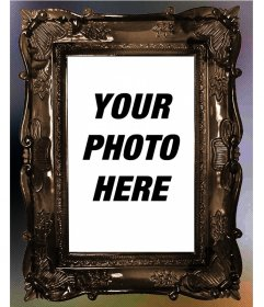 Photoeffect of an ornate Victorian lacquered wood photo frame