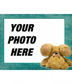 Picture frame with a teddy bear doing a cartwheel on your photo