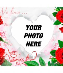 Romantic frame with roses and a heart to insert your photos