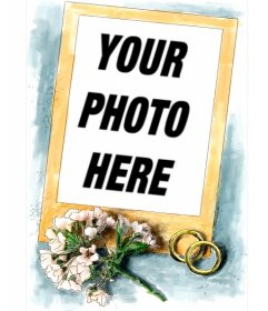 Frame for wedding photos. Accompanying the golden frame a simple bouquet of pink flowers and two rings of gold and blue background