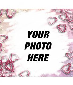 """Pretty pink hearts photo frame. Ideal for lovers. Tell that person how much you care with this montage, you can send a postcard custom days like Valentine""""s Day"""