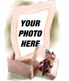 Picture frame where your image appears out of a gift box drawn watercolor