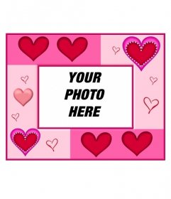 Photo frame hearts of various sizes and pink background. Perfect to put background image of a bride and groom