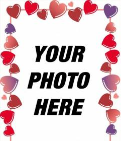 """Photo frame of red hearts and roses for Valentine""""s where you put the picture with your sweetheart"""