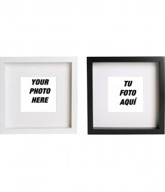 Create collage online with 2 black and white square photo frames to put your images and add text