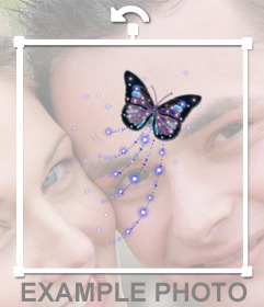 Butterfly with glitter to stick on your photos online