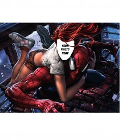 Photomontage with Mary Jane and Spider-Man to put your photo on her