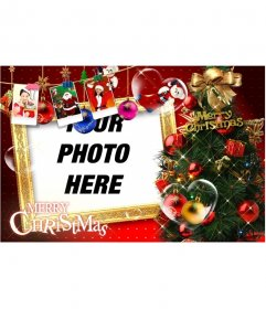 Beautiful Christmas card with Christmas decorations, gifts, pictures of Santa Claus and gifts. Stop Christmas cards with your photo