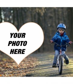 Photo frame of a child with bike and your picture in a heart
