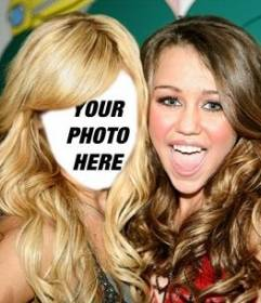 Photomontage where you can put your face on Ashley Tisdale with Miley Cyrus