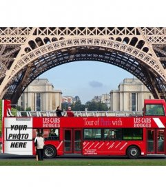 Insert your photo in a poster advertising a tour bus under the Eiffel Tower in Paris