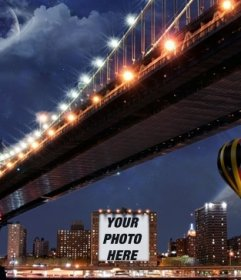 Photomontage on a poster of a building next to a balloon and a bridge