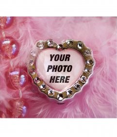 Collage of pink jewel heart and velvety background with beads