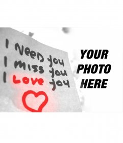Love photo effect with text and a heart