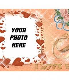 Photo montage for lovers with hearts and text I LOVE YOU