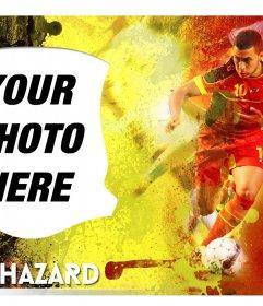 Montage with Eden Hazard, the young Belgian footballer selection