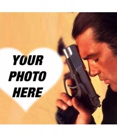 Photo montage of Antonio Banderas in which you can add a photo of you in a heart shape