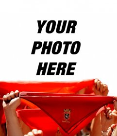 Photomontage of San Fermin scarves with typical high