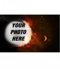 Special photomontage with a planet