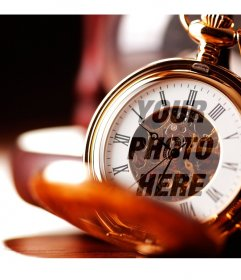 Photo montage with a gold pocket watch
