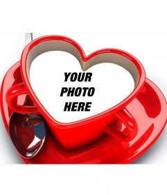Heart-shaped coffee cup with your picture inside