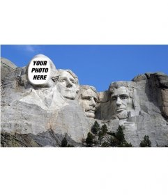 Free photomontage to put your face on the famous work of Mount Rushmoreen