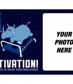 Photo motivation to Facebook with a rhinoceros