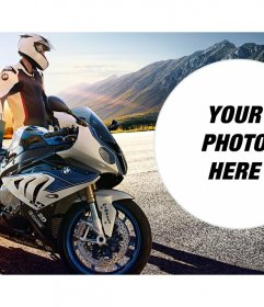 Photomontage with a high-end BMW motorcycle brand