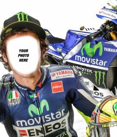 Photomontage with Valentino Rossi, MotoGP rider to edit