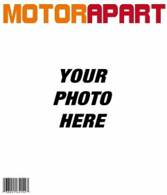 Template cover of Motor Apart, customizable with your photo. Add also, if you want, a headline in the image. Then you can download or send the photo montage to an email