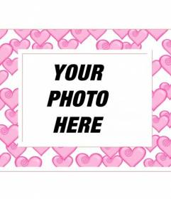 Photo frame with roses and hearts dozens of white border. For lovers