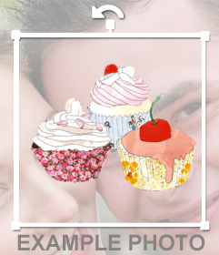 Sticker with a drawing of three cupcakes