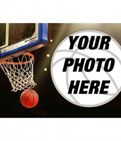 Collage of a basket and a basketball