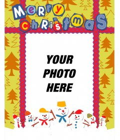 Colorful postcard of Christmas with fir background to put your photo