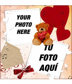 Postcard to do online for two photos, with decoration of a teddy bear, hearts and letter